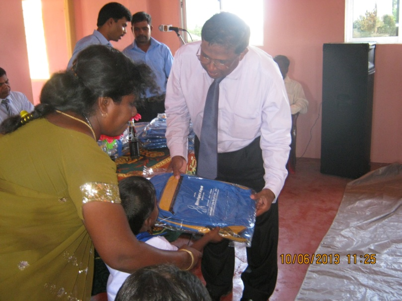 School bags donated by Ramakrishna Mission to Chandran Pre-School in Mullivaikal East  children